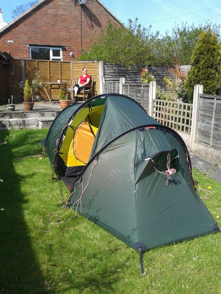 Checking the tent in the garden